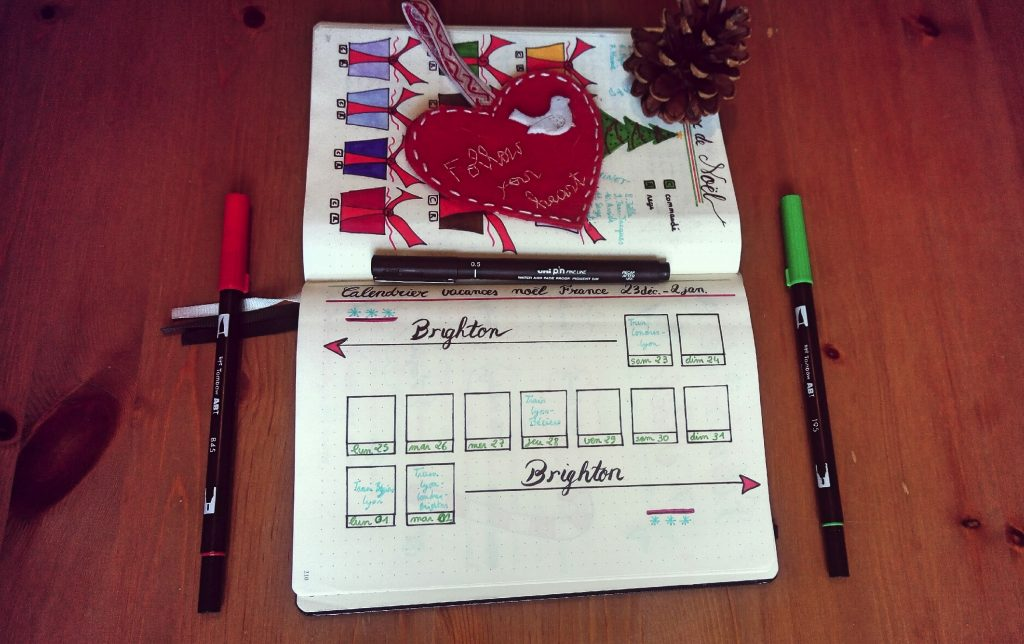 bullet journal calendrier Noël